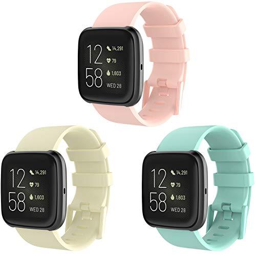 Correa para Fitbit Versa 2,KingAcc Silicona Suave Pulsera de Respueto con Hebilla de Metal Compatible con Fitbit Versa/Versa 2/Versa Lite smartwatch
