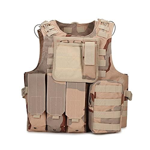 Chaleco táctico , Tactical Gear Placer Carrier Chaleco Caza Militar Equipo de paintball Airsoft de combate de combate Molle Asalto Chalecos para entrenar juegos de paintball ( Color : Sansha camo )