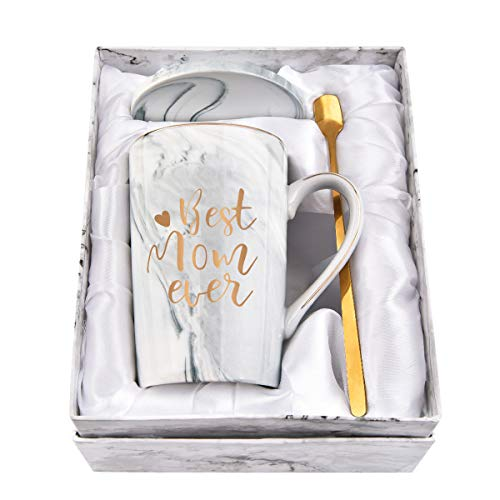 Best Mom Ever Coffee Mug Mom Mother Mug Novelty Mug for Mom Women Mothers Day Mug for Mom Mother from Daughter Son Printing with Gold 14Oz Gray Marble Coffee Mug with Exquisite Box Packing Spoon