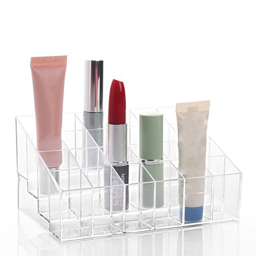 litymitzromq Makeup Organizer Jewelry and Cosmetic Storage, Clear 24 Cells Lipsticks Holder Display Stand Cosmetic Organizer Makeup Case Display Boxes Makeup Palette and Brush Holder
