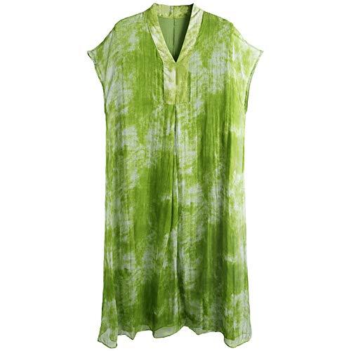 BINGQZ Kleid Kalter Wind Seidenkleid Sommerkleid Neue Damen Retro minimalistisch losen V-Ausschnitt Langen Seidenrock