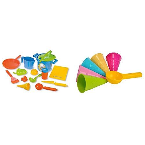 Lena 05410 - Happy Sand Spielset Kochen, 14 teilig, Sand und Wasser Spielzeug Set, mit Topf, Sieb, 3 Förmchen, Brett, Pfanne, Eislöffel, Eistüte & Simba 107108605 - Sandformen EIS