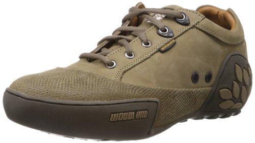 Woodland Men's Khaki Leather Sneakers - 6 UK/India (40 EU)