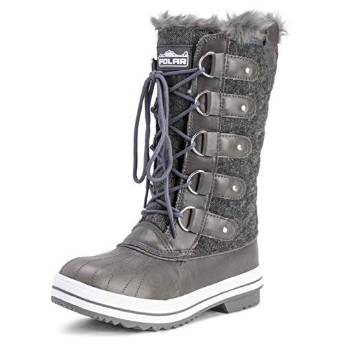 POLAR Womens Snow Boot Quilted Tall Winter Snow Waterproof Warm Rain Boot - 7 - GRT38 YC0013