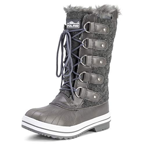 POLAR Womens Snow Boot Quilted Tall Winter Snow Waterproof Warm Rain Boot - 5 - GRT36 YC0013