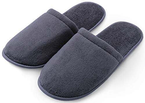 Pembrook Men's Slippers with Memory Foam – Gray - L/XL (10-12) – Fuzzy Polar Fleece with non skid sole - Great Plush Slip On House Slippers for adults, men, boys