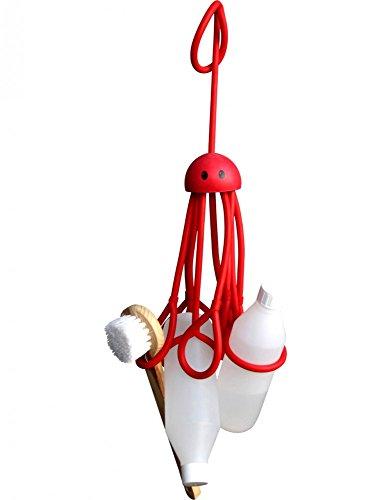 Formverket Octopus Shampoohalter, Duschgelhalter ohne Bohren, Oktopus zum Hängen mit 9 verstellbaren Schlaufen aus Latex, rot
