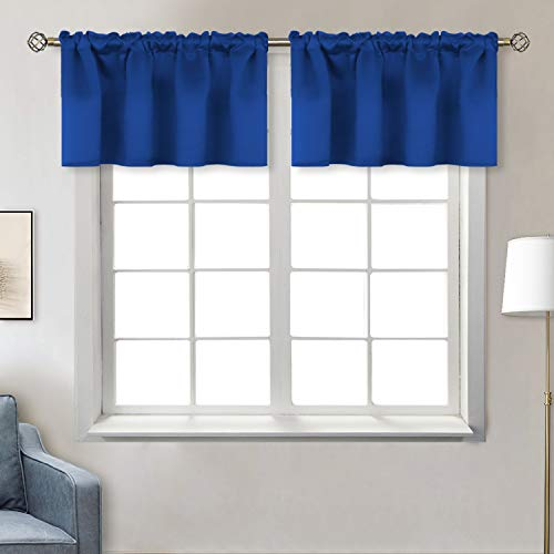 BGment Rod Pocket Valances for Kitchen- Thermal Insulated Room Darkening Tier Valance Curtain for Dinning Room, 42 x 18 Inch, 2 Panels, Royal Blue