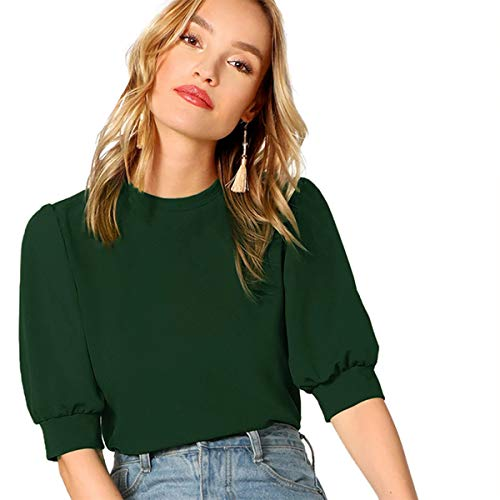 SheIn Women's Puff Sleeve Casual Solid Top Pullover Keyhole Back Blouse Pure Deep Green Small