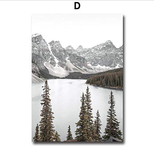 Waitingposter - mist reef sneeuw mountainbike grenenbos muurkunst schilderij op canvas Scandinavische posters en prints muurschilderijen voor woonkamer decoratie, D 20x28inch(50x7cm)