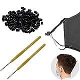 SINYEE Cord Lock 100 pcs Soft Silica Gel Round Elastic Mask Adjustment Buckle Adult Children Elastic Adjustment Accessories (Black)
