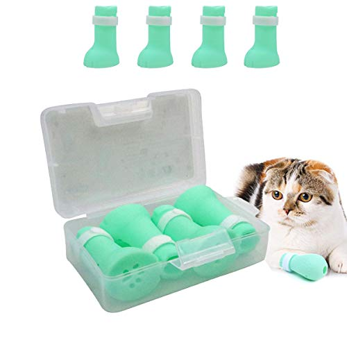 Anti-Scratch Silicone Cat Shoes Boots, Adjustable Nail Cover Precaution Scratch Gloves Cat Paw Protector, Pet Scratching Restraint Booties Kitten Cat Claws Cover for Home Bathing, Shaving Checking