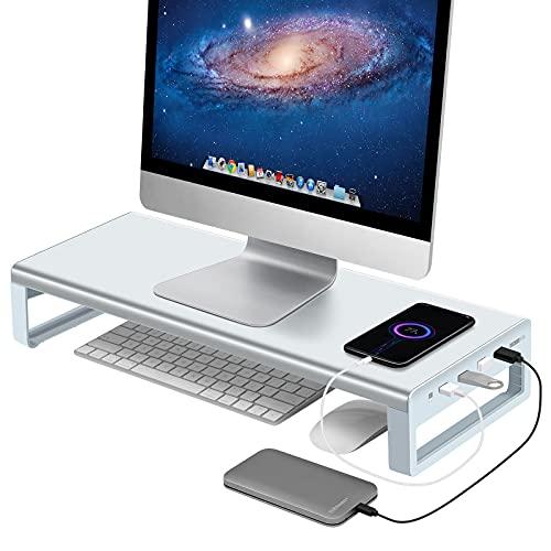 Vaydeer USB 3.0 Hub Soporte para Monitor Soporte Vertical de Aluminio para Monitor Admite Transferencia de Datos y Carga, Soporte de Metal para Monitor de Hasta 32 Pulgadas para PC, Portátil -Plateado