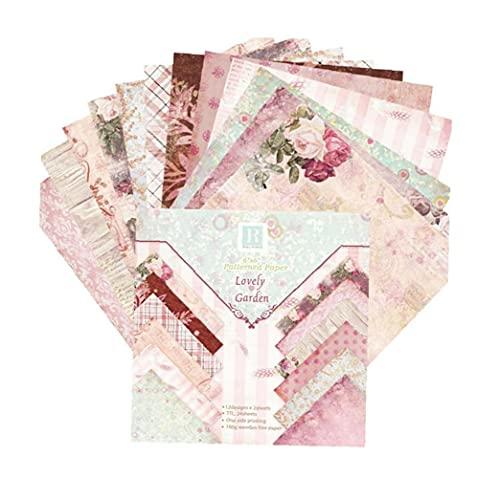 Origami de papel de la vendimia de papel del libro de recuerdos floral cartulina DIY 15 * 15cm tarjeta ¨¢lbum de recortes de papel 24PCS
