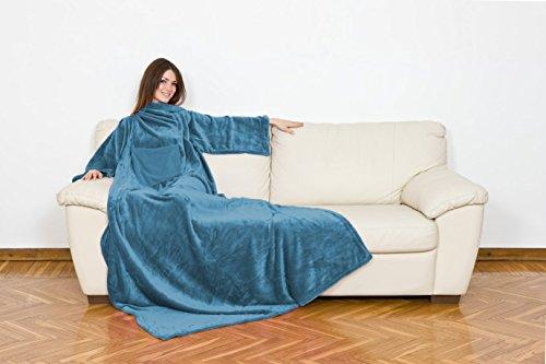 Kanguru Deluxe Kuscheldecke Ocean-blau Größe 140x210 cm XXL GRATIS 1x SCHAL Ultra Soft Sofadecke mit Brusttasche und Ärmeln