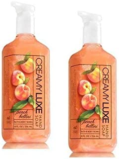Bath and Body Works 2 Pack Peach Bellini Creamy Luxe Hand Soap. 8 Oz