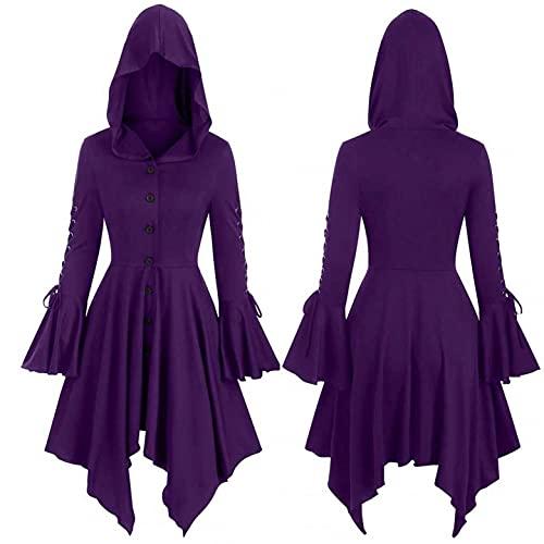 Mymyguoe Damen Kurzarm Vintage Kleider mit Kapuze Mittelalter Kleidung Prinzessin Kleid Abendkleider Lang 80er Jahre Kleider Halloween Kostüm
