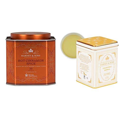 Harney & Sons Hot Cinnamon Spice Tea Tin - Black Tea with Orange & Sweet Clove - 2.67 Ounces, 30 Sachets & Chamomile Herbal Tea, Classic Tin, 20 Sachets, white