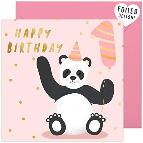 Central 23 Cute 1st Birthday Card Pink Happy Birthday Card for Girls Sweet Animal Panda Design product image