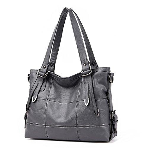DEERWORD Damen Taschen Handtaschen Elegant Frau Schultertaschen Lack PU-Leder Henkeltaschen Grau
