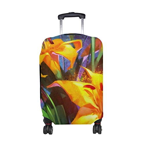 Lilies Bouquet Flowers Pattern Print Travel Luggage Protector Baggage Suitcase Cover Fits 18-21 Inch Luggage