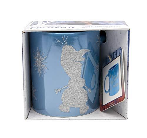 Disney Frozen II Tasse Olaf mit Glitzereffekt, Eiskönigin blau mit Glitzerdruck, Fassungsvermögen ca. 320 ml.