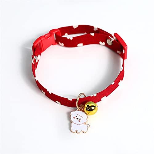 JHGJHG Red Bownot Collares Collares DE CORTÓN Dots Patrones por PUPS COLECTOR con Pendiente Ajuste Ajustable Collar DE MACKET Regalo (Color : White, Size : S(17-33cm))