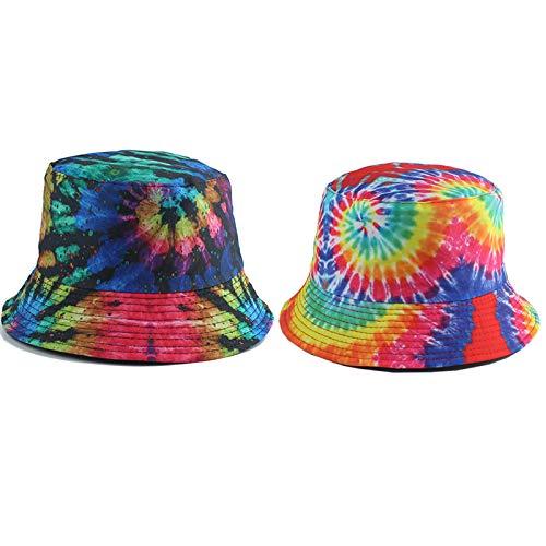 SJIUH Sunhat verano pescador sombrero reversible Harajuku Bucket Sombreros para mujeres hombres Street Hip Hop Cap Rainbow Tie Dye Impreso Fishing Hat, Yan Hua