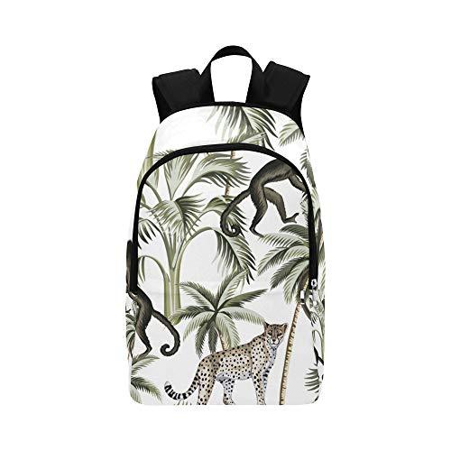 WJJSXKA Best Hiking Bag Tropical Vivid Monkey Palm Tree Durable Water Resistant Classic Cool Backpacks Sports Bag for Girls Cooler Travel Bag Men Travel Bag