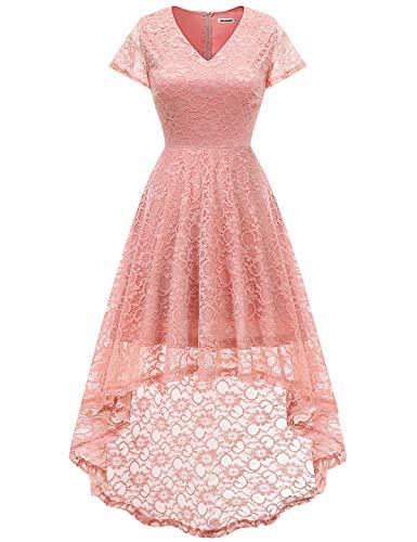 Bbonlinedress Damen Vintage Vokuhila Spitzen Kurzarm Unregelmässig Brautjungfern Abendkleider Blush 2XL