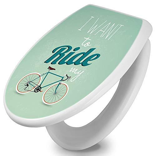 banjado Toilettendeckel mit Absenkautomatik   WC Sitz 44cm x 5cm x 37cm   Klodeckel weiß   Klobrille mit Edelstahl Scharnieren   Toilettensitz mit Motiv I want to ride my bike