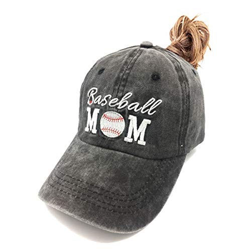 Waldeal Women's Embroidered Baseball Mom Ponytail Hat Vintage Washed Ballcap Black