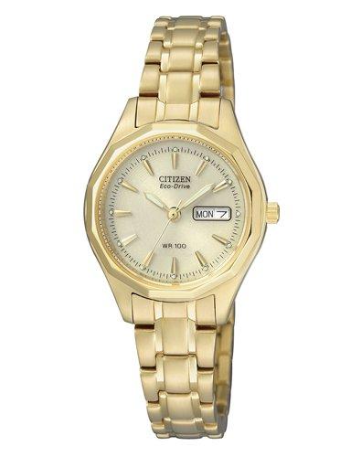 Citizen dames analoog kwarts horloge met geelgoud armband EW3142-56PE