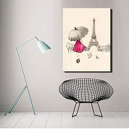 yaoxingfu Frameless No Frame Cartoon Paris Straßenbild Kunstplakat Mädchen mit rotem Regenschirm Leinwand 30x40cm