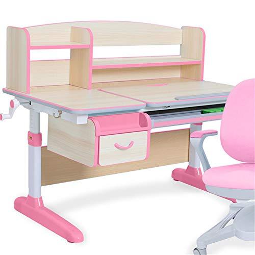 ROGF Kindertisch Stuhl Set Kinder-Schreibtisch-Tabelle Schwenkbarer Tisch for Kinder Art Holz Tisch Arbeitsplatz Höhenverstellbarer Für Kinder (Color : Pink, Size : One Size)