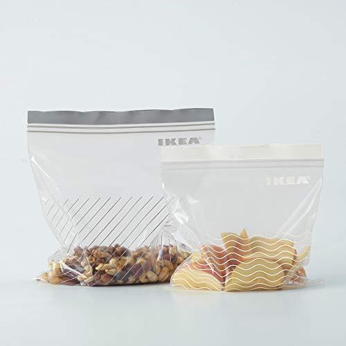 Ikea, Sacchetti richiudibili Istad, confezione da 25 pezzi da 1,2 litri + 25 pezzi da 2,5 l, per freezer, qualità alimentare, colore viola, confezione da 50 pezzi in totale, plastica, Grey, Confezione da 1