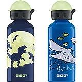 Sigg Glow Moon Dinos Cantimplora Infantil (0.4 L), Botella Para Niños + Sharkies Cantimplora Infantil (0.4 L), Botella Para Niños Sin Sustancias