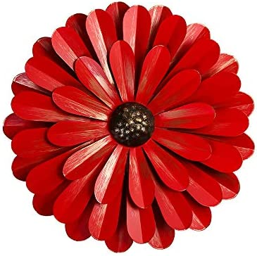Large Red Metal Flower Wall Decor 12 Flower Art Wall Hanging for Home Bedroom Garden Indoor product image