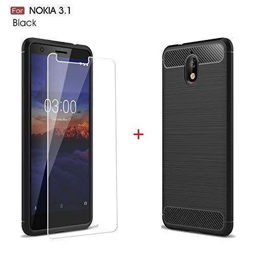 """HYMY Nokia 3.1 2018 Cover Nero Custodia + 1 x Pellicola Protettiva - Morbida Silicone TPU Fibra di Carbonio Case Protettivo Copertura Sport all'Aria Aperta per Nokia 3.1 2018 (5.2"""")"""