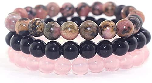 Bracelet pierre naturelle de 8 mm ensembles hommes femmes Rose Rhodonite Quartz noir Onyx empilable poignet perlé Mala bracelets à breloques