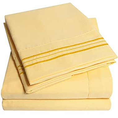 1500 Supreme Collection Bed Sheets Set - PREMIUM PEACH SKIN SOFT LUXURY 4 PIECE BED SHEET SET, SINCE 2012 - Deep Pocket Wrinkle Free Hypoallergenic Bedding - Over 40+ Colors - Queen Size, Yellow