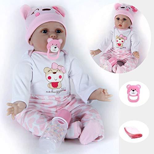 ZIYIUI 22Zoll Reborn Baby Doll Weiches Silikon Vinyl Lebensechte 55 cm Mädchen Puppen Spielzeug Magnetic Dummy