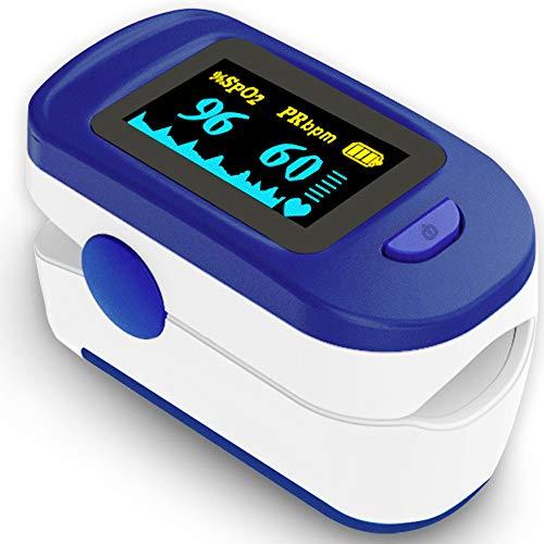 Monitor de saturación de oxígeno, monitor de dedo de oxígeno para adultos y niños SpO2 nivel de saturación de oxígeno en sangre y monitor de frecuencia cardíaca, incluye baterías y cordón