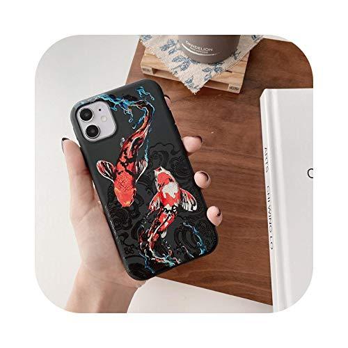 Best Cover per iPhone 12 Mini Pro XS 11 Pro Max X XR 7 8 Plus Cover Anime Pesce Rosso Custodia di Protezione Gomma Morbida Morbida Red-for iPhone 11