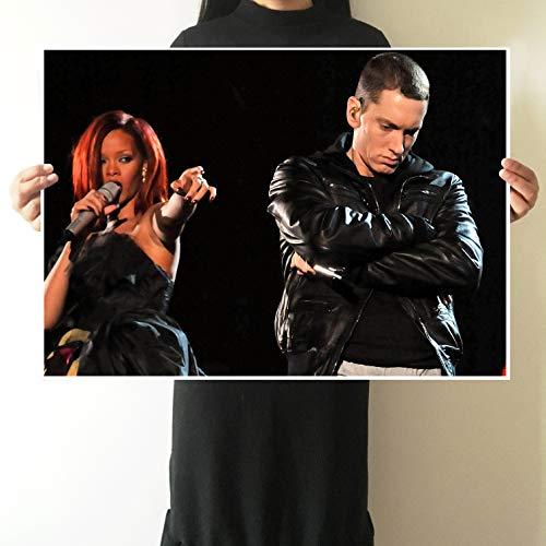 Fotobehang Star Poster Eminem Rond Europa en Amerika Muurstickers Rapper Slaapzaal Behang Bar Decoratie Schilderij Core 51X36 cm