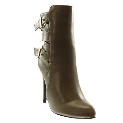 Angkorly - Damen Schuhe Stiefeletten - Reitstiefel Kavalier - Biker - Stiletto - Schleife - Multi-Zaum - golden Stiletto high Heel 11 cm - Khaki 1010 T 40