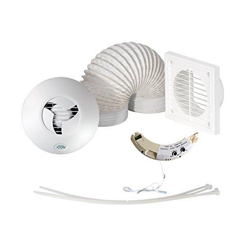 Airflow HTSHWKT15 Afvoerluchtventilator, voor badkamer/douche, voor vochtregulering, met timer