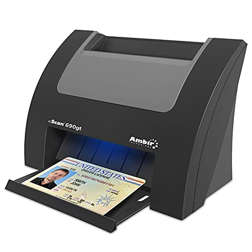 Ambir nScan 690gt High-Speed Vertical Card Scanner with AmbirScan Business Card for Windows PC