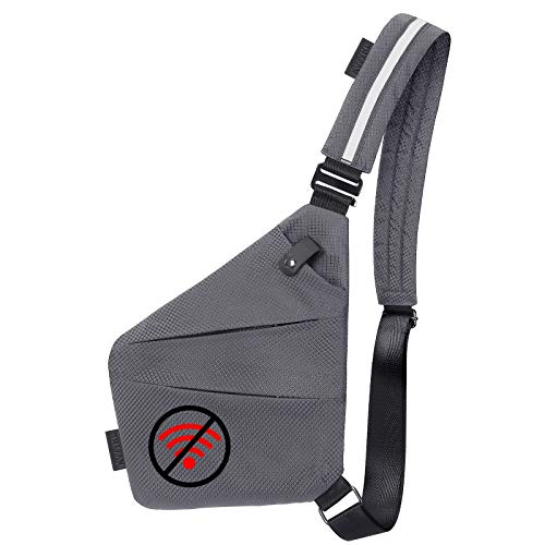 Anti-Theft Shoulder Backpack Waterproof Sling Chest Crossbody traveling Casual bag for Men Women Boys Lightweight multifunctional High Visibility Reflective (Grey)