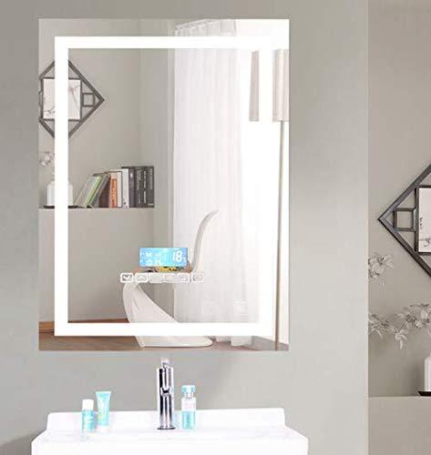 Miroir de Mur de Salle de Bains avec Bluetooth et Anti-buée,Dimmable,Affichage de l'heure et de la température